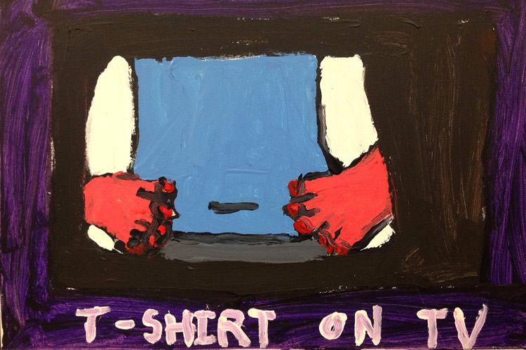 T-Shirt on TV exhibition with Autism Services at Big Orbit Project Space
